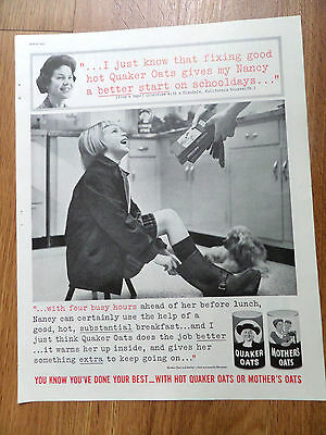 1961 Quaker Oats Cereal Ad from a Glendale Claifornia  Housewife