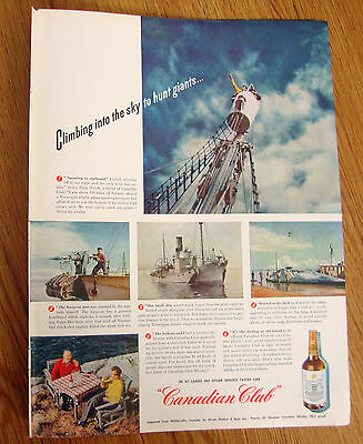 1947 Canadian Club Whiskey Ad Norway Whaler 1947 Camel Cigarette Ad O'Donnell