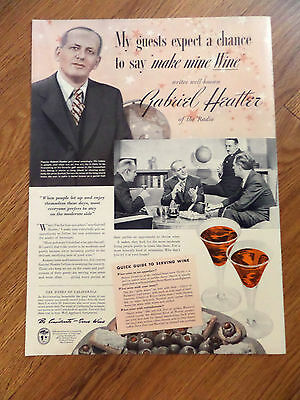 1941 Wines of California Ad     Gabriel Heatter of Radio