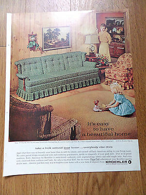 1962 Kroehler Furniture Ad Beautiful Home   Cape Cod Collection