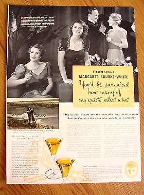 1939 Wines of California Ad Margaret Bourke-White Author of North of the Danube