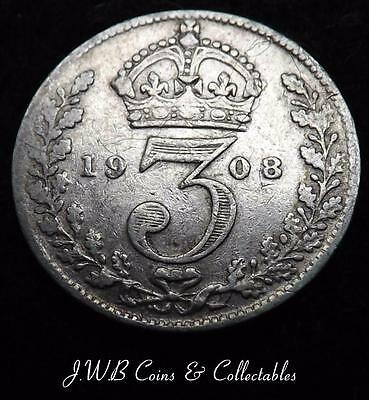 1908 Edward VII Silver Threepence Coin - Great Britain - Ref ; T/M