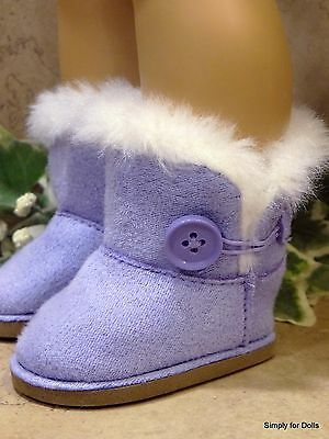 """**SALE** LAVENDER Fur-Trim EWE Button DOLL BOOTS SHOES fits 18"""" AMERICAN GIRL"""