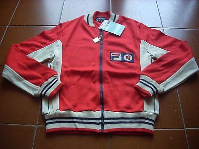 """Deadstock Fila Bj Borg Tracksuit Top Jumper 70 Casuals 80 Tennis Red Kid 32"""" New"""