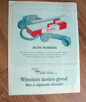 1963 Winston Cigarette Ad  Busy Number  Telephone Theme