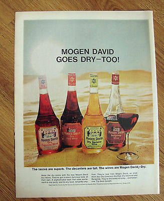 1966 Mogen David Wines Ad   Tastes Superb Decanters Tall Wines are Dry