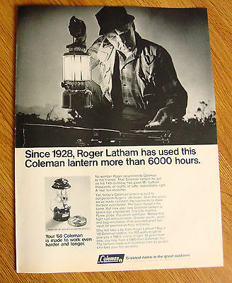 1968 Coleman Ad Since 1928 Roger Latham has used this Lantern more 6000 Hours