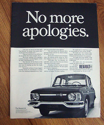 1968 Renault 10 Ad No More Apologies