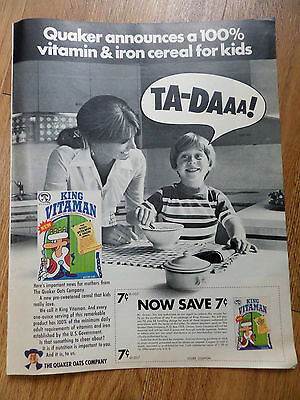 1970 Quaker Oats Ad  Announces new Cereal King Vitaman