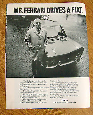 1971 Fiat Ad  Mr. Ferrari Drives A Fit