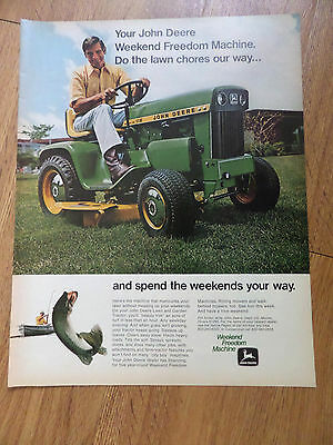 1971 John Deere Lawn Tractor Ad Weekend Freedom Machines Fishing Theme