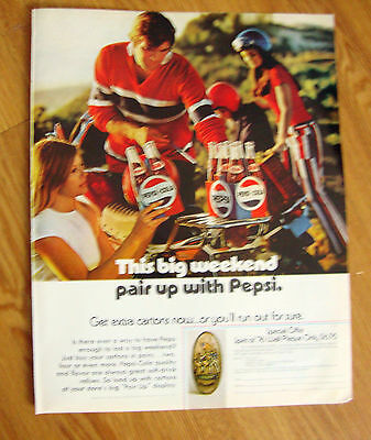 1971 Pepsi Cola Soda Pop Ad - This Big Weekend Pair up with Pepsi
