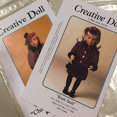 """Creative Doll Knit Suit, Chenille Coat & Beret Knitted Pattern - 18"""" Dolls (2)"""