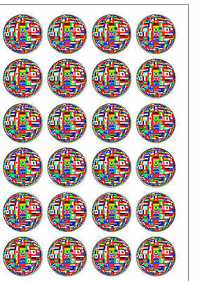 24 PRECUT Flags of the World Olympics Edible Wafer Paper Cupcake Cake Toppers