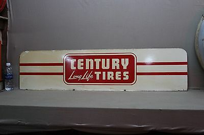 RARE 1960's CENTURY TIRES 2-SIDED METAL SIGN SERVICE STATION GAS OIL CAR 66 COKE
