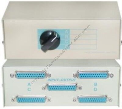 4way DB25 pin/wire ABCD Manual Data Switch Box,Parallel/Serial/RS232/LPT $SHdisc