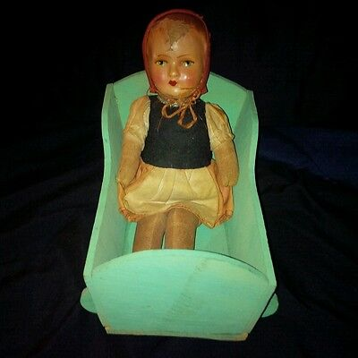 Early Cloth Rag Doll Composition/Paper Mache Head Baby Girl w/ Hand Made Cradle