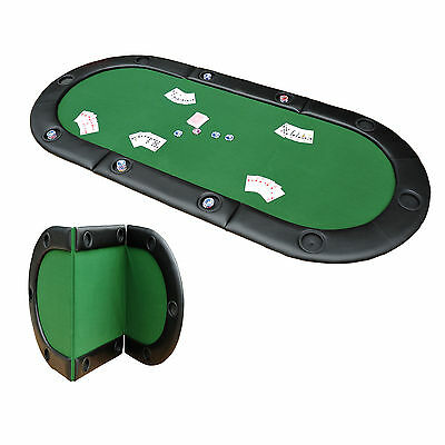 Large Folding Poker Table Top Texas Hold em 10 Players Holdem Card Game Casino