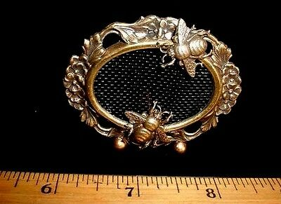 """Dollhouse Miniature FIREPLACE SCREEN Handcrafted Honey Bees 2.25"""" ROOM BOX"""