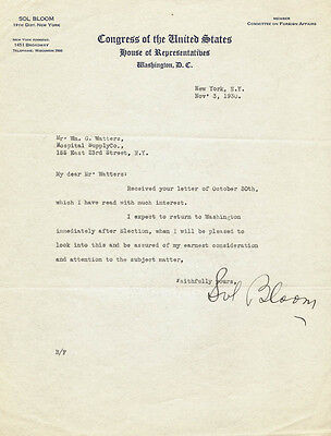 Sol Bloom - Typed Letter Signed 11/03/1930