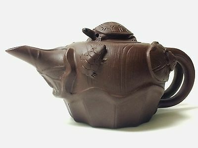 Vintage Chinese Yixing Teapot W/ MARKS Excellent Condition Two Handles RARE