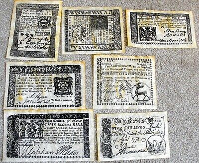 Antiqued Repoduction of American Revolutionary Currency Set A
