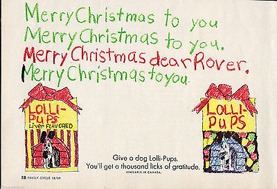 Vintage 1969 Lolli-Pups Print Ad Christmas, Dog treats, Rover