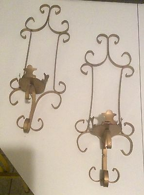 "2pc Vintage Gold Scrolled Wrought Iron Metal Wall Hanging Candle Sconce 3""candle"