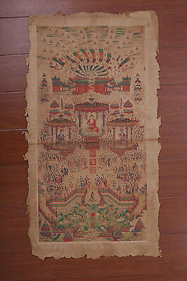 Large Fine Old Chinese Hand Painting Buddhas Images Seal Marks PD036