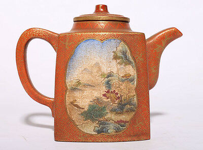 Old Chinese Hand Painted Landscape ZiSha Pottery Teapot Marked QianLong PT102