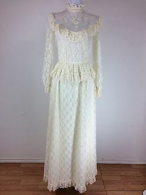 Vintage 1970s Lace Dress Size Small Victorian Style Ivory Cream Floral Prairie