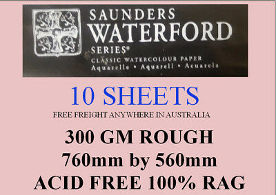 SAUNDERS WATERFORD WATERCOLOR PAPER 300gm ROUGH 760 by 560 10 SHEETS LOTPAPER001