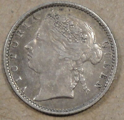 Straits Settlements 1885 10 Cents Nice Mid Grade Coin