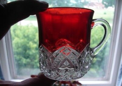 "c1897 McKee EAPG Ruby Stained Heart Band Pattern Glass 3"" Mug Cup"