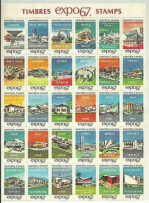 Canada Cinderella issue: Expo67 Pavilion Stamps full sheet of 30, Mint