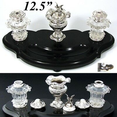 "Antique Dutch Sterling SIlver, Cut Crystal 12.5"" Black Marble Inkwell, Sander"