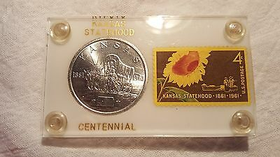 KANSAS STATEHOOD 1861-1961 BU Silver Coin & Stamp Combo -- in Lucite display