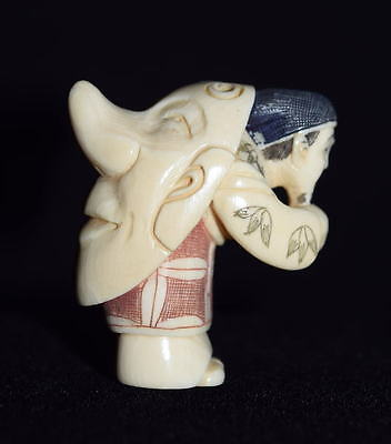 Authentic Highly Carved Antique Japanese Netsuke Of Actor With Tengu Mask