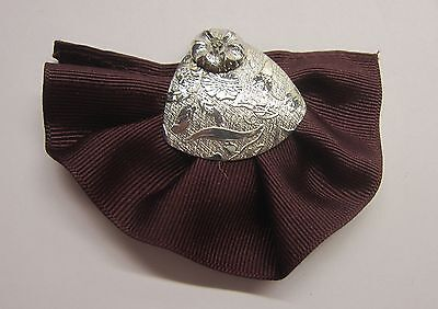 Silver Tone Maroon Clip On Tie - Flower & a Crystal