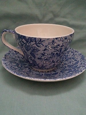 CHURCHILL CALICO Blue and White Coffee Cup and Saucer