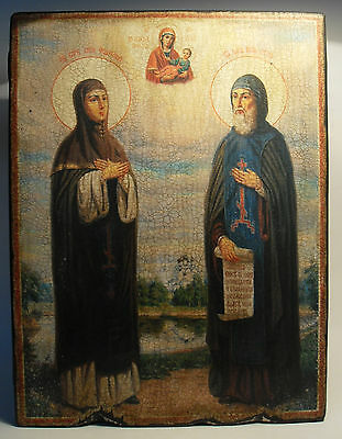 Handmade copy ancient ORTHODOX CHURCH ICON Sts Peter and Fevronia of Murom 117L