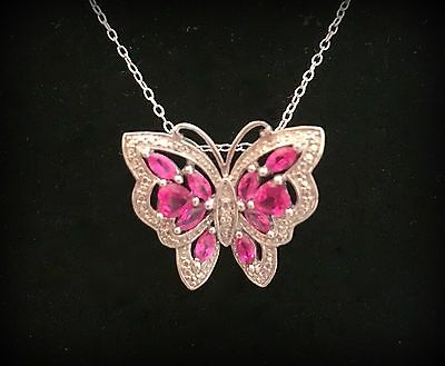 925 Sterling Filigree W/ Pink Stones Tiny Diamond Butterfly Pendant & Chain Nwot