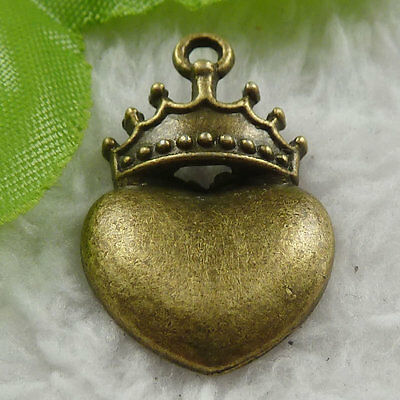Free Ship 120 pieces bronze plated crown heart charms 28x18mm #1818