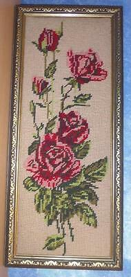 Vintage Wool Needlepoint ROSES TAPESTRY Completed & Framed VGC
