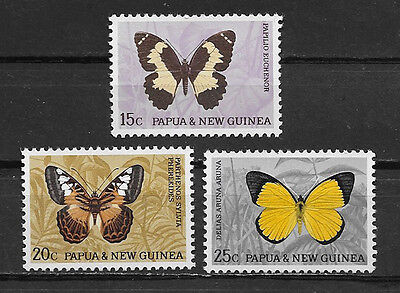 Papua & New Guinea , 1966 , Butterflies , Set Of 3  Stamps ,  Perf, Mnh