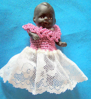 antique solid bisque baby doll/ black - marked BV - Germany
