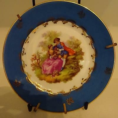 Vintage French Limoges Cabinet Plate - The Lovers - With Gold Hanging Stand 16cm