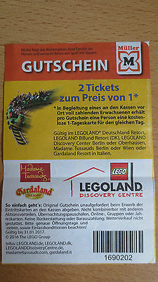 2 gutscheine coupons 2 f r 1 ticket legoland madame tussauds gardaland eur 1 00. Black Bedroom Furniture Sets. Home Design Ideas