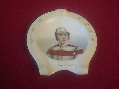 Victorian Horseshoe pin/ash tray picturing Jockey Tom Cannon Snr 1872 Champion