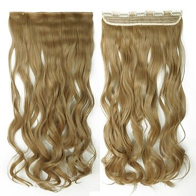 """Cheap Price 29"""" Curly 3/4 Full Head 1 Piece clip in hair Extension Ash Blonde"""